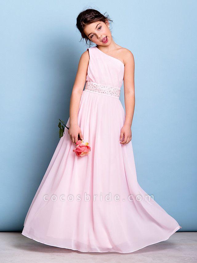 A-Line One Shoulder Floor Length Chiffon Junior Bridesmaid Dress With Sash / Ribbon / Beading / Side Draping / Natural