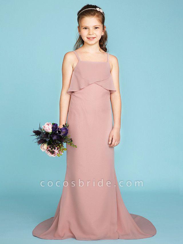 Sheath / Column Spaghetti Strap Sweep / Brush Train Chiffon Junior Bridesmaid Dress With Tiered / Wedding Party / Open Back