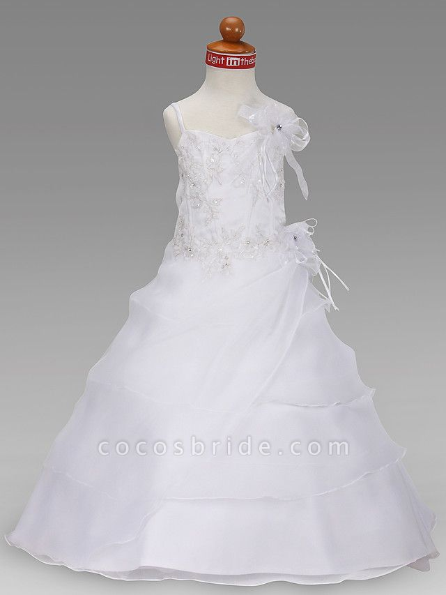 Princess / A-Line Floor Length Wedding Party Organza / Satin Sleeveless Spaghetti Strap With Appliques / Flower / Spring / Summer / Fall / Winter