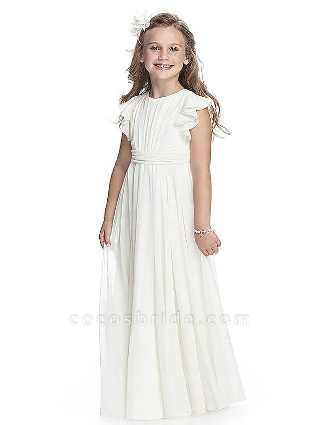 A-Line Round Neck Floor Length Chiffon Junior Bridesmaid Dress With Sash / Ribbon / First Communion