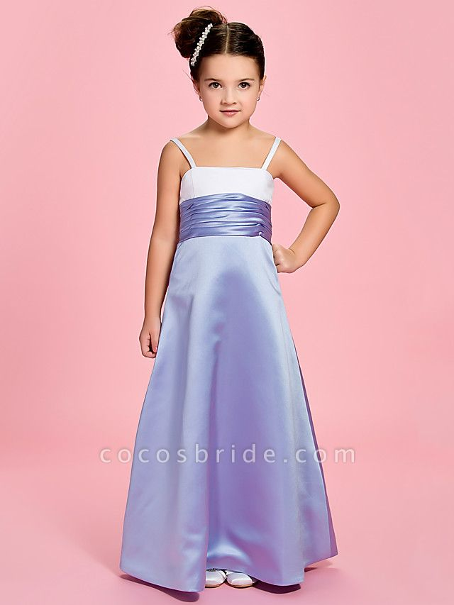 Princess / A-Line Ankle Length First Communion / Wedding Party Satin Straps With Ruched / Spring / Summer / Fall