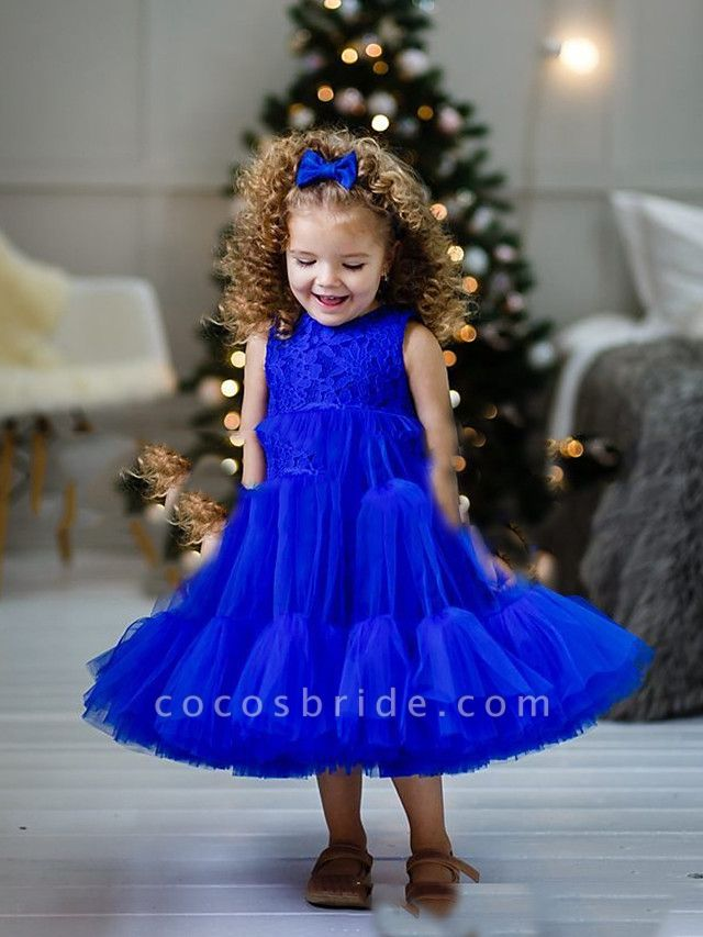Princess / A-Line Floor Length Party / Birthday Flower Girl Dresses - Lace / Tulle Sleeveless Jewel Neck With Pleats / Tier