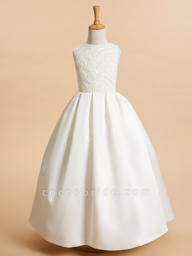 A-Line Ankle Length Wedding / First Communion Flower Girl Dresses - Lace / Satin Sleeveless Jewel Neck With Lace