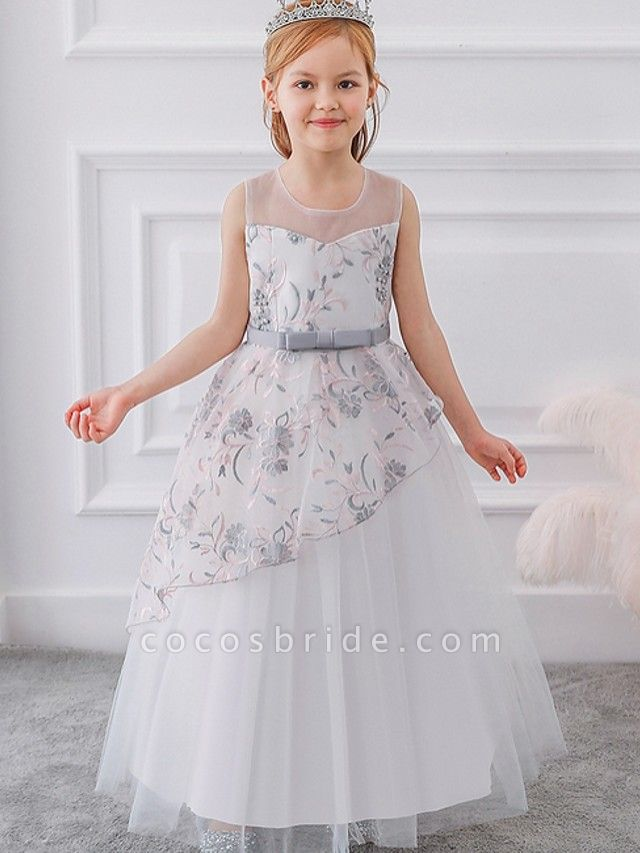 Princess / Ball Gown Floor Length Wedding / Party Flower Girl Dresses - Tulle Sleeveless Illusion Neck With Sash / Ribbon / Bow(S) / Embroidery