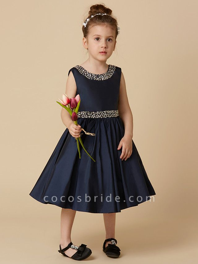 A-Line Knee Length Pageant Flower Girl Dresses - Taffeta Sleeveless Jewel Neck With Beading / Crystal Brooch