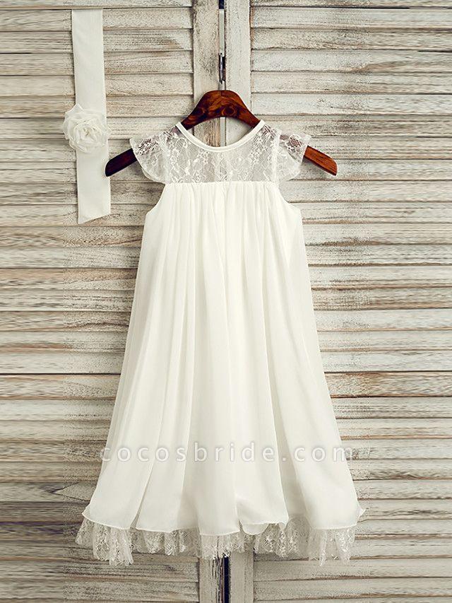 A-Line Tea Length Wedding / First Communion / Holiday Flower Girl Dresses - Lace / Satin Chiffon Sleeveless Jewel Neck With Sash / Ribbon