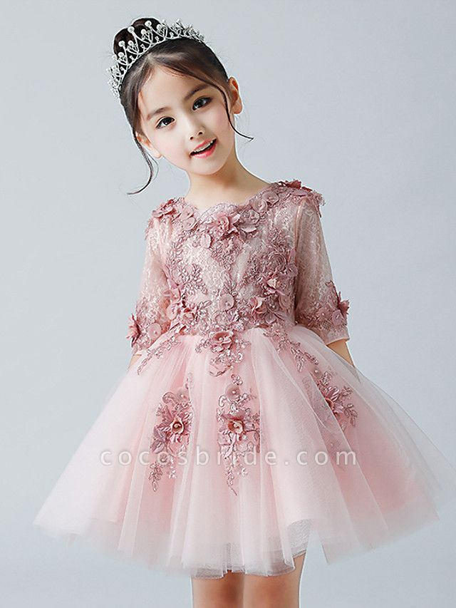 A-Line Ankle Length Christmas / Birthday Flower Girl Dresses - Tulle Half Sleeve Jewel Neck With Appliques