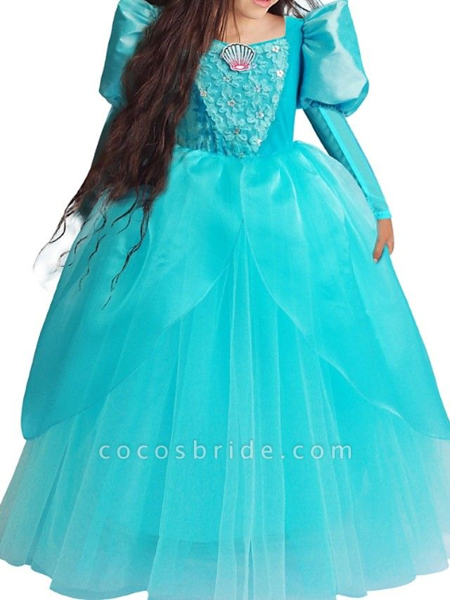 Ball Gown Floor Length Pageant Flower Girl Dresses - Polyester Long Sleeve Square Neck With Lace