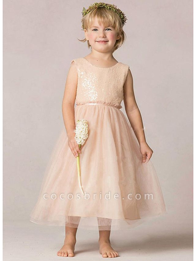 A-Line Ankle Length Wedding / Party Flower Girl Dresses - Tulle / Sequined Sleeveless Jewel Neck With Ruching