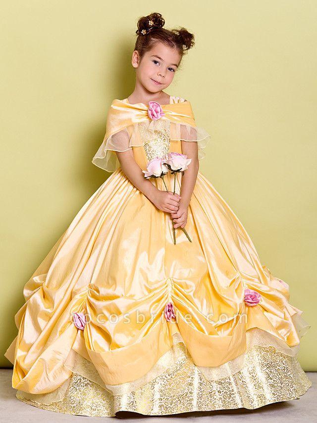 Ball Gown Floor Length Pageant Flower Girl Dresses - Taffeta Sleeveless Off Shoulder With Bow(S) / Flower