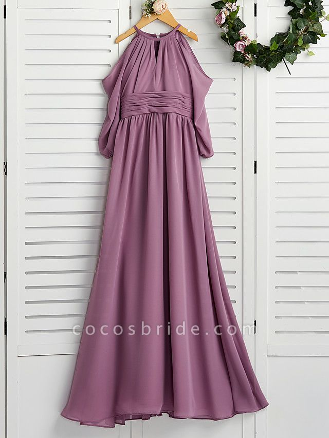 A-Line Crew Neck Floor Length Chiffon Junior Bridesmaid Dress With Ruching / Wedding Party