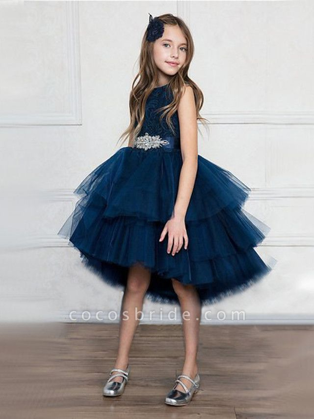 Princess Asymmetrical Wedding / Party / Pageant Flower Girl Dresses - Satin / Tulle Sleeveless Jewel Neck With Belt / Crystals / Rhinestones