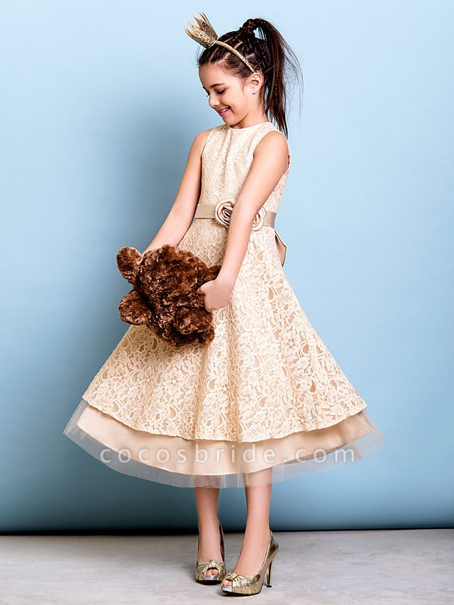 A-Line Jewel Neck Tea Length All Over Floral Lace Junior Bridesmaid Dress With Sash / Ribbon / Bow(S) / Flower / Natural