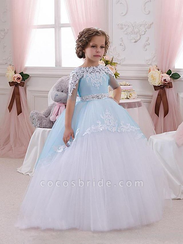 Princess Floor Length Wedding / Birthday / Pageant Flower Girl Dresses - Lace / Tulle Short Sleeve Jewel Neck With Lace / Appliques / Crystals / Rhinestones