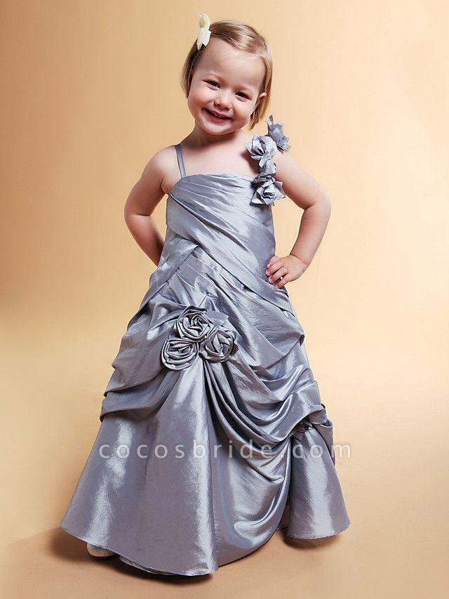 Princess / A-Line Floor Length Wedding Party Taffeta Sleeveless Spaghetti Strap With Pick Up Skirt / Side Draping / Flower / Spring / Summer / Fall / Winter