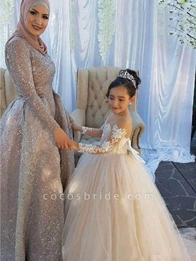 Ball Gown Sweep / Brush Train Wedding / First Communion / Pageant Flower Girl Dresses - Lace / Satin / Tulle Long Sleeve Boat Neck With Lace / Appliques