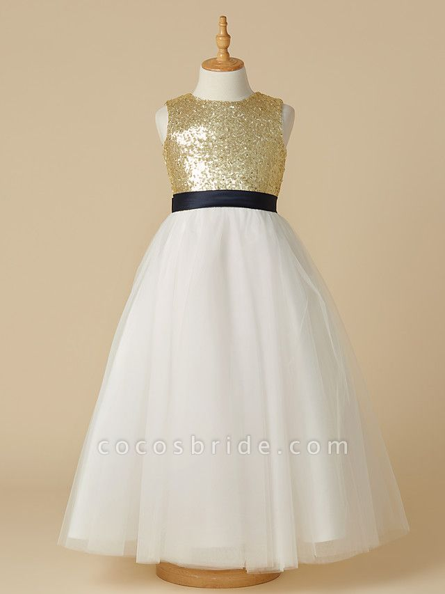 A-Line Ankle Length Pageant Flower Girl Dresses - Tulle / Sequined Sleeveless Jewel Neck With Sash / Ribbon / Bow(S)