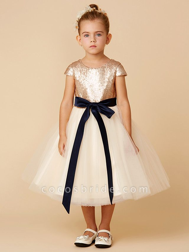 Princess Tea Length Pageant Flower Girl Dresses - Tulle / Sequined Short Sleeve Jewel Neck With Sash / Ribbon / Bow(S) / Sequin