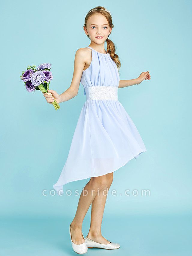 Sheath / Column Jewel Neck Asymmetrical Chiffon Junior Bridesmaid Dress With Sequin / Natural