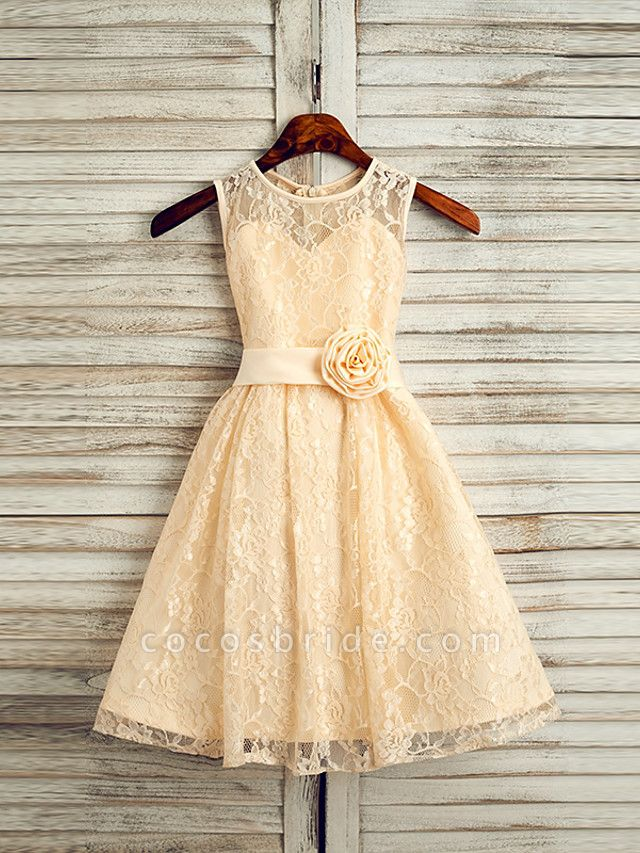 A-Line Tea Length Wedding / First Communion / Pageant Flower Girl Dresses - Lace / Satin Sleeveless Jewel Neck With Sash / Ribbon