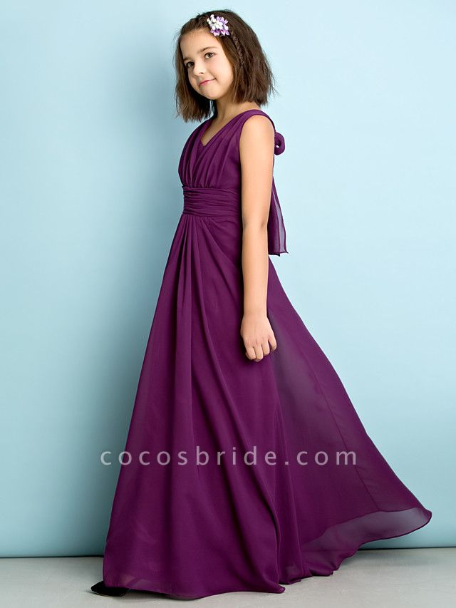A-Line V Neck Floor Length Chiffon Junior Bridesmaid Dress With Criss Cross / Natural / Mini Me