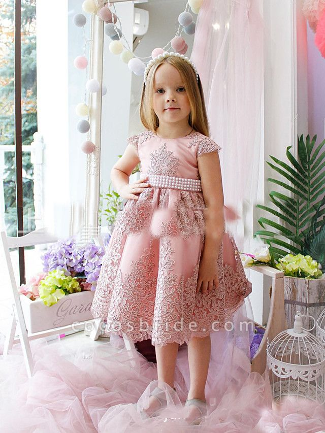 Princess / A-Line Tea Length Party / Birthday Flower Girl Dresses - Lace / Satin Cap Sleeve Jewel Neck With Appliques