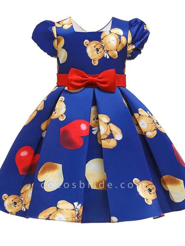 Ball Gown Knee Length Pageant Flower Girl Dresses - Polyester Short Sleeve Jewel Neck With Bow(S)