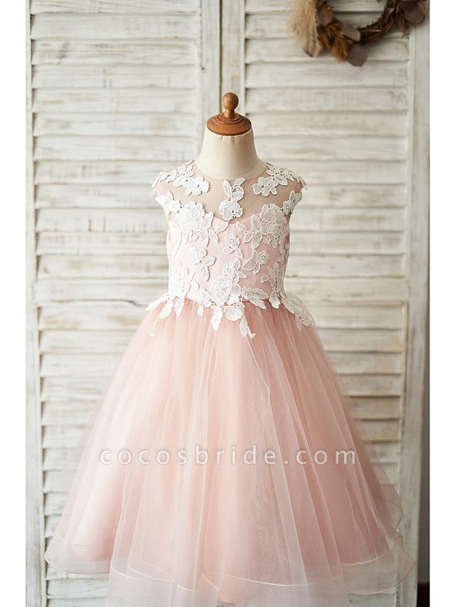 Ball Gown Knee Length Wedding / Birthday Flower Girl Dresses - Satin / Tulle Sleeveless Jewel Neck With Bow(S) / Appliques