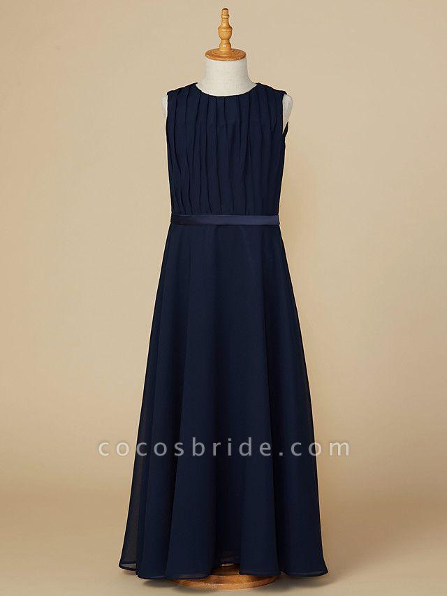 A-Line Jewel Neck Ankle Length Chiffon Junior Bridesmaid Dress With Sash / Ribbon / Ruching