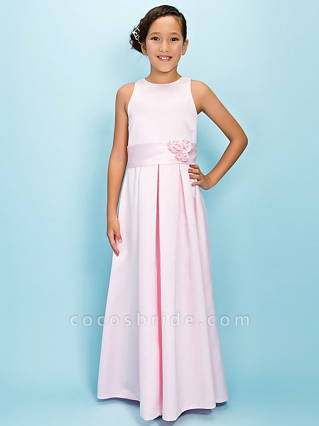 A-Line Jewel Neck Floor Length Satin Junior Bridesmaid Dress With Sash / Ribbon / Draping / Flower / Spring / Fall / Winter / Apple / Hourglass