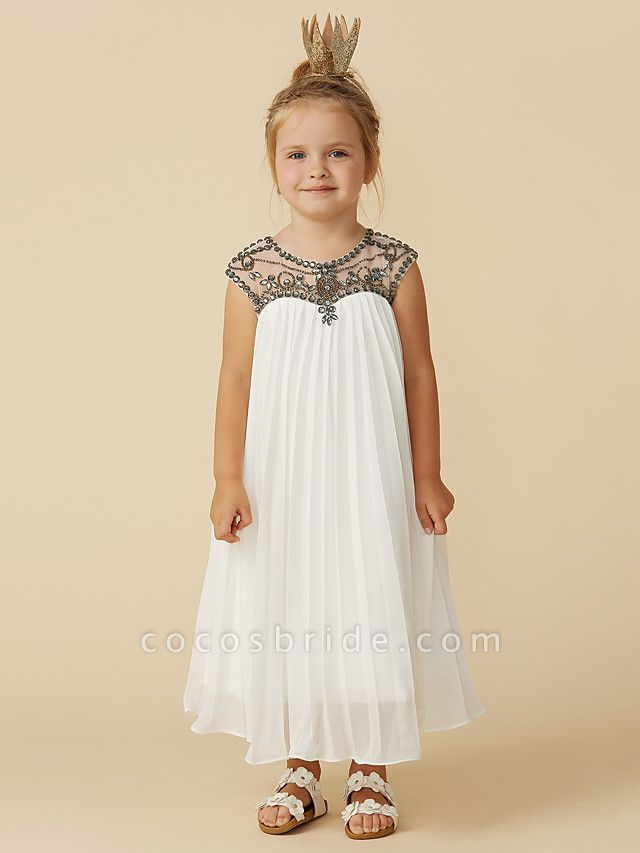 A-Line Tea Length Holiday Flower Girl Dresses - Chiffon Short Sleeve Jewel Neck With Beading