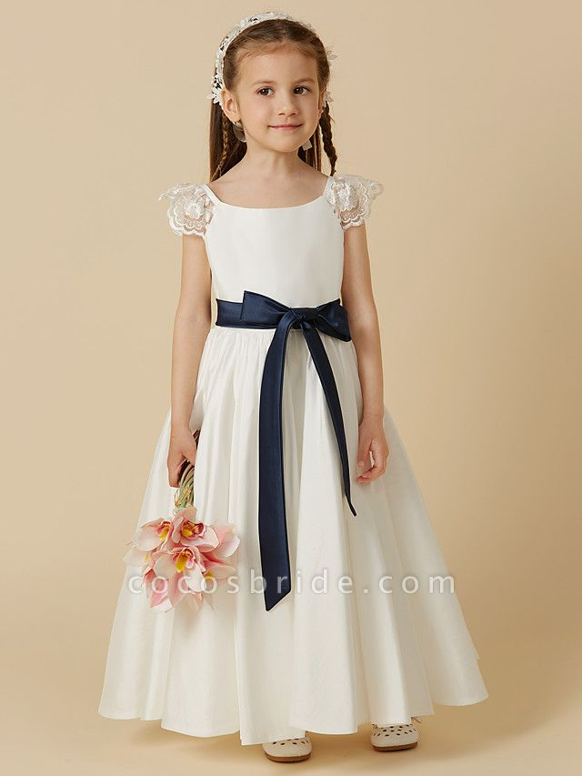 A-Line Ankle Length Wedding / First Communion Flower Girl Dresses - Taffeta Short Sleeve Scoop Neck With Sash / Ribbon / Bow(S)