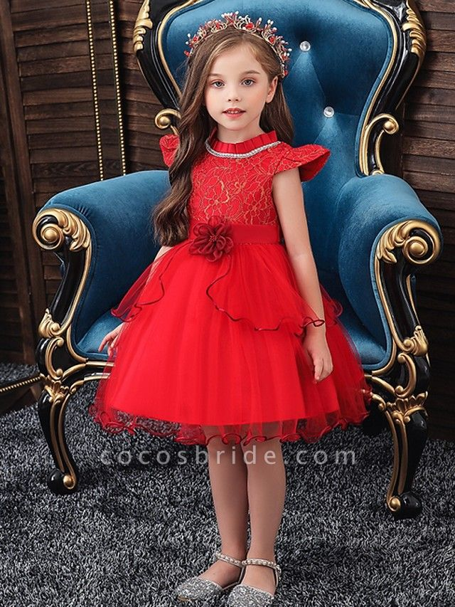 Princess / Ball Gown Knee Length Wedding / Party Flower Girl Dresses - Tulle Cap Sleeve Jewel Neck With Sash / Ribbon / Embroidery / Flower