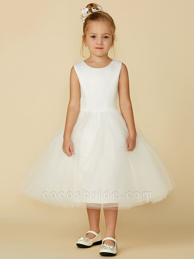 Princess Tea Length Wedding / First Communion Flower Girl Dresses - Satin / Tulle Sleeveless Jewel Neck With Lace