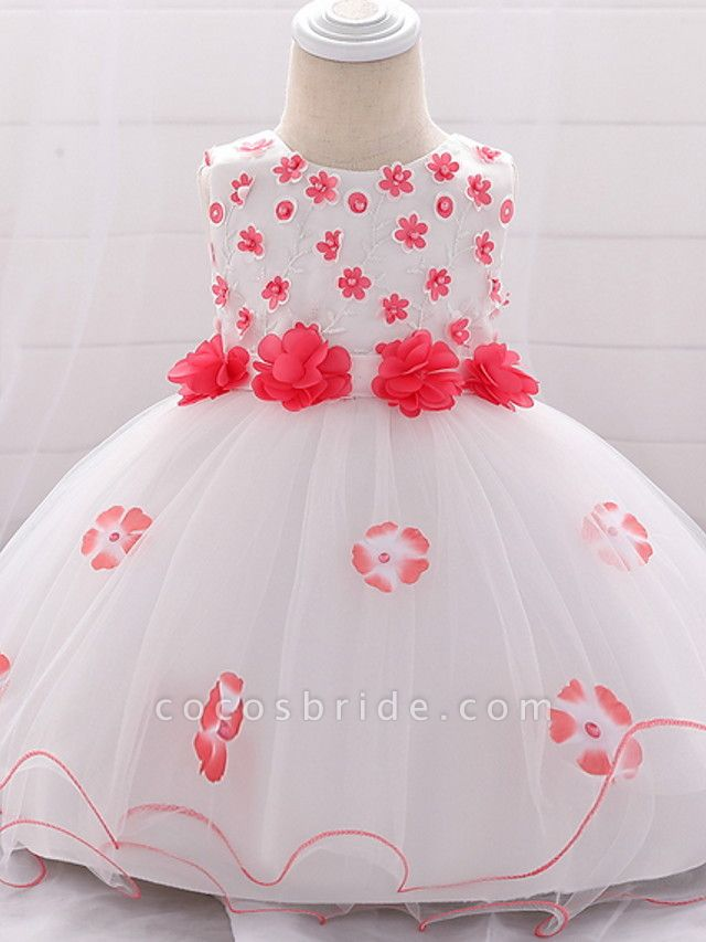 Ball Gown Floor Length Wedding / Party Flower Girl Dresses - Lace / Tulle Sleeveless Jewel Neck With Bow(S) / Tier / Appliques