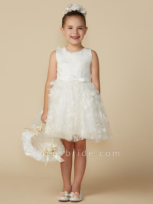 Princess Short Length Wedding / First Communion Lace Sleeveless Jewel Neck With Belt / Bow(S)