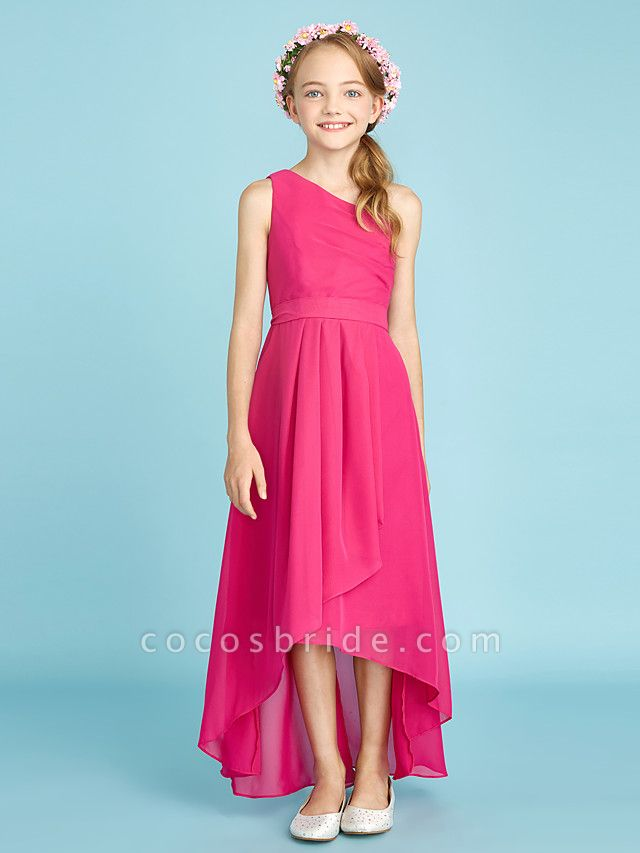 A-Line One Shoulder Asymmetrical Chiffon Junior Bridesmaid Dress With Sash / Ribbon / Bow(S) / Side Draping / Natural