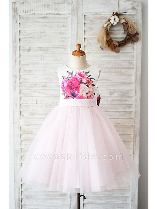 Ball Gown Knee Length Wedding / Birthday Flower Girl Dresses - Tulle Sleeveless Jewel Neck With Bow(S)
