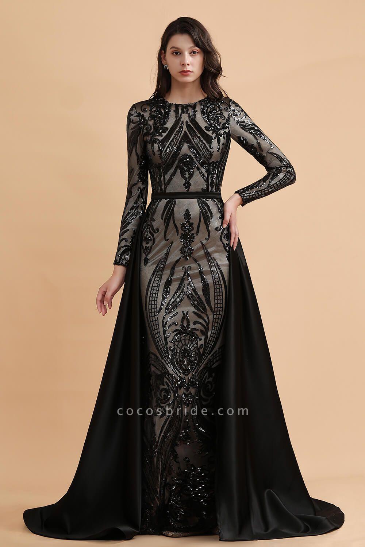 Luxury Black Round neck Sequined Detachable Overskirt Prom Dress