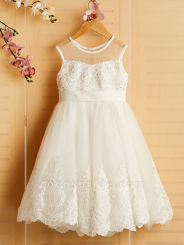 Princess Tea Length Wedding / Birthday / Pageant Flower Girl Dresses - Satin / Tulle Sleeveless Jewel Neck With Bows / Belt / Beading