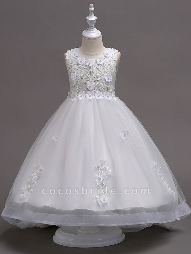 Princess Knee Length Flower Girl Dress - Lace / Tulle Sleeveless Jewel Neck With Appliques / Crystals / Lace By Lan Ting Express