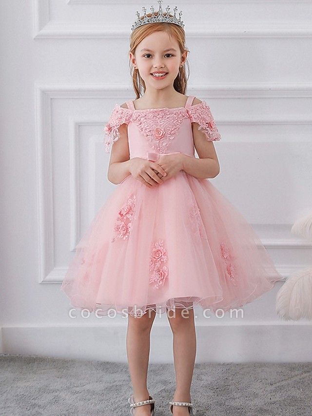 Princess / Ball Gown Knee Length Wedding / Party Flower Girl Dresses - Satin / Tulle Short Sleeve Off Shoulder With Sash / Ribbon / Bow(S) / Appliques