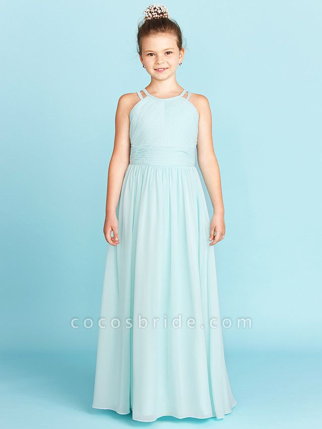 Princess / A-Line Jewel Neck Floor Length Chiffon Junior Bridesmaid Dress With Ruched / Side-Draped / Wedding Party / Open Back