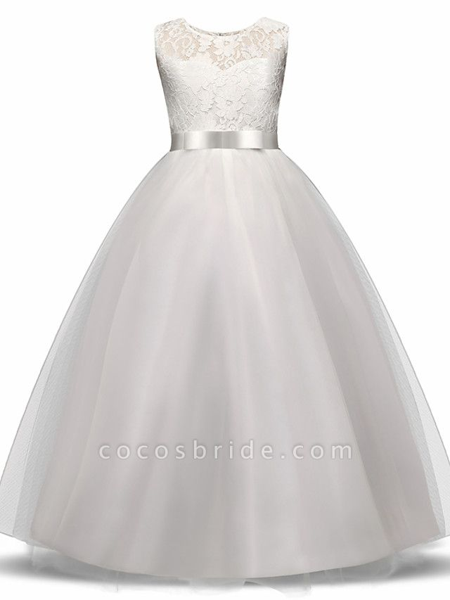 Princess Long Length Wedding / First Communion Flower Girl Dresses - Lace / Tulle Sleeveless Jewel Neck With Lace / Bow(S) / Embroidery