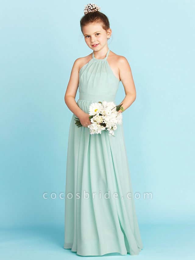 Princess / A-Line Halter Neck Floor Length Chiffon Junior Bridesmaid Dress With Sash / Ribbon / Pleats / Wedding Party / Open Back