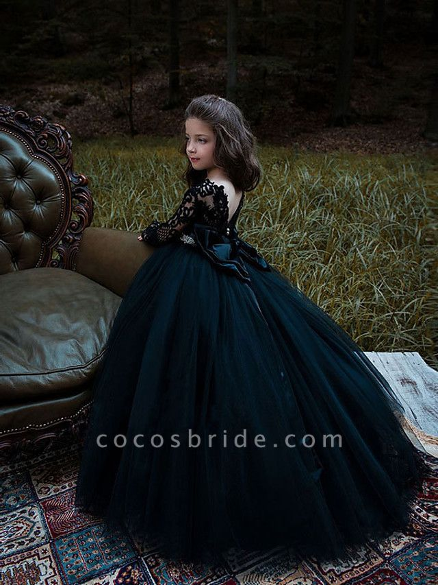 Princess / Ball Gown Sweep / Brush Train Wedding / Party Flower Girl Dresses - Lace / Tulle Long Sleeve Jewel Neck With Bow(S) / Pleats / Appliques