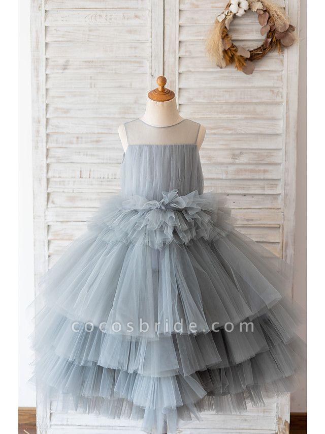 Ball Gown Knee Length Wedding / Birthday Flower Girl Dresses - Tulle Sleeveless Jewel Neck With Tier