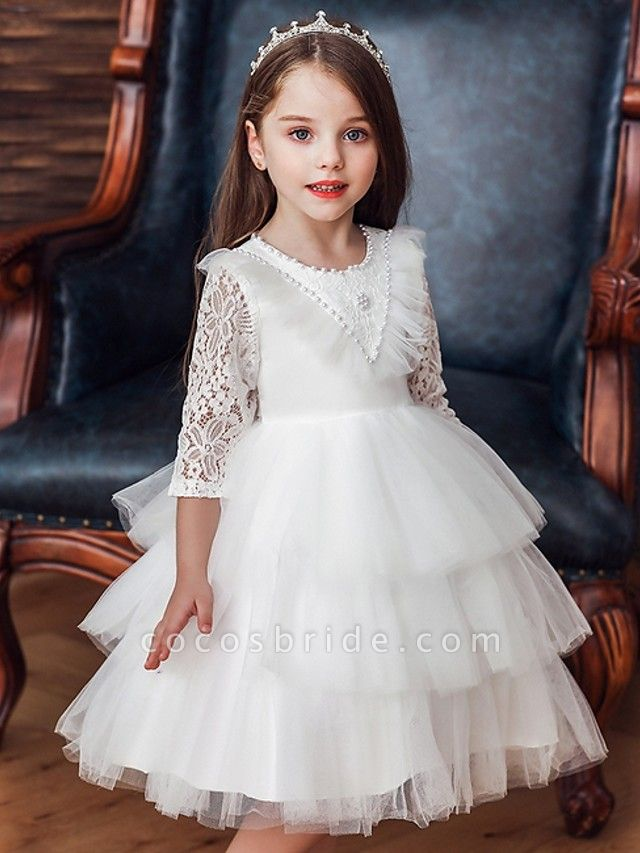 Princess / Ball Gown Knee Length Wedding / Party Flower Girl Dresses - Tulle 3/4 Length Sleeve Jewel Neck With Bow(S) / Beading / Cascading Ruffles