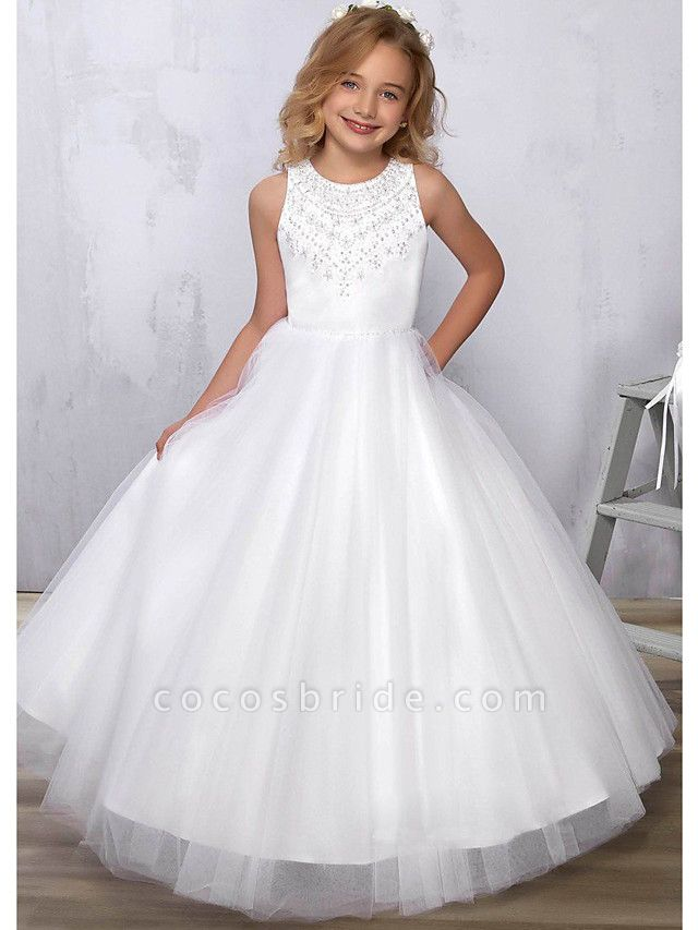 Princess / A-Line Floor Length Wedding / Party Flower Girl Dresses - Satin / Tulle Sleeveless Jewel Neck With Beading