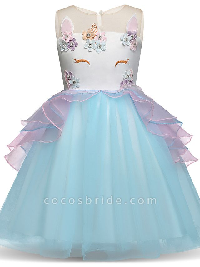 Princess Midi Party / Birthday Satin / Tulle Sleeveless Jewel Neck With Tier / Embroidery / Appliques